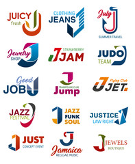 J letter vector business identity