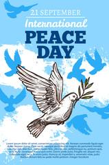Peace international day, white dove