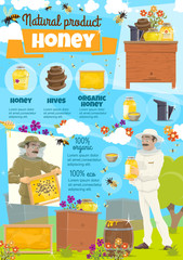 Honey farm and beekeeper in protective clothing