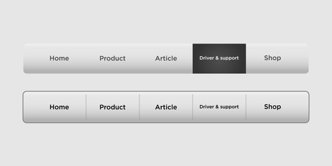navigation bar templates with black hover button. Web elements vector header on gray background