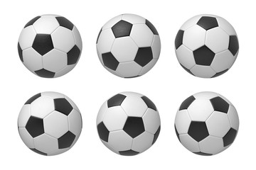 3d rendering of six football balls shown in different angles isolated on a white background.