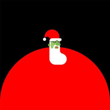 Santa Claus zombie. Christmas grandfather horror. Halloween New Year