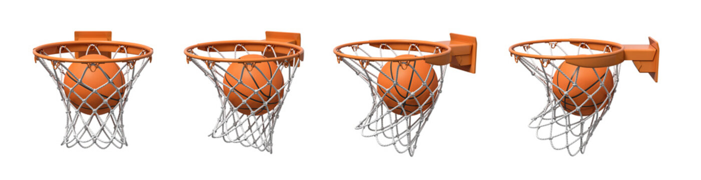 3d rendering of a set made of four basketball baskets with a ball falling inside each of them.