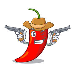 Cowboy cartoon red hot natural chili pepper