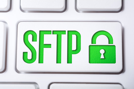 Macro Of The Word SFTP With A Lock Security Icon On A Keyboard Button