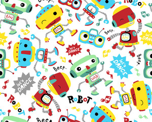 Custom blinds with your photo Seamless pattern vector with robots dance cartoon