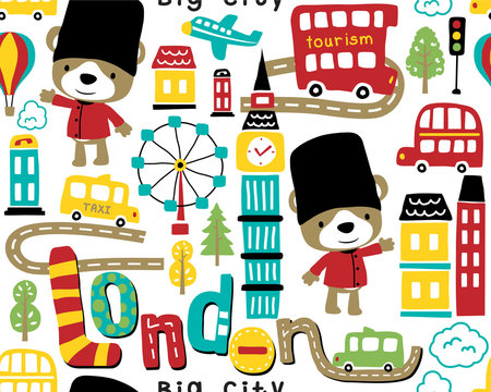 Seamless pattern vector with london city cartoon with funny royal guard