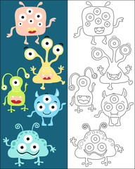 Vector set of funny monster cartoon, coloring book or page
