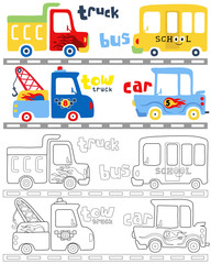 Vector illustration of vehicles cartoon, coloring book or page