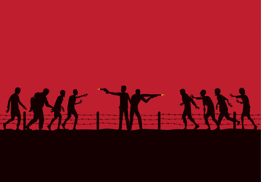 Silhouette of two man stand and fighting crowd zombie with handgun and rifle on red background.