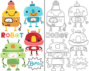 Vector illustration of robot set cartoon, coloring book or page