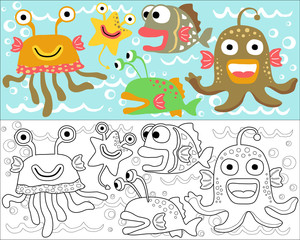 Vector illustration of monsters cartoon, coloring book or page