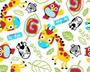 Vector seamless pattern of giraffe and owl cartoon
