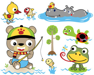 Vector set of funny animals cartoon in the swamp