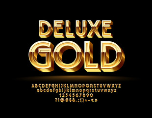 Luxury Golden 3D Font. Chic Alphabet Letters, Numbers and Symbols