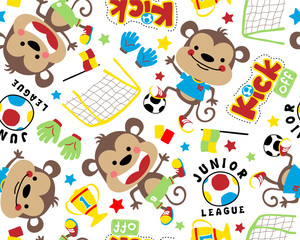 Vector seamless pattern of funny monkey cartoon with soccer equipment