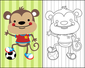 vector of coloring book or page with monkey cartoon the soccer player
