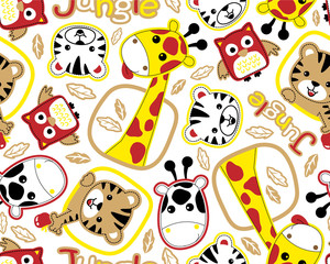 Vector seamless pattern of funny animals cartoon