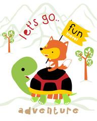 Vector illustration of fun travel with funny animals cartoon