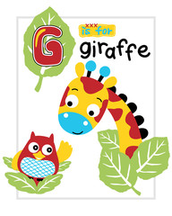 Vector illustration of giraffe and owl cartoon
