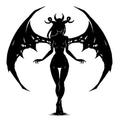 Beautiful demoness with sharp wings