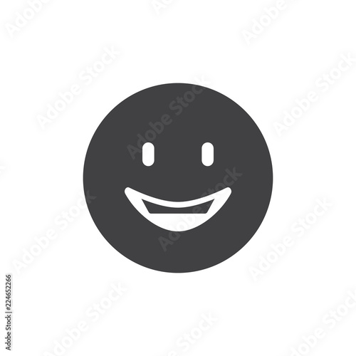Happy Face Emoji Vector Icon Filled Flat Sign For Mobile Concept