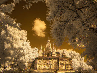 Infrared fine art photography : Historical attractions and historic sites in Thailand