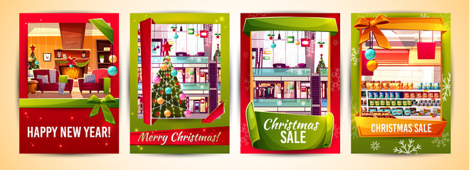 Christmas greeting cards and Xmas sale poster templates vector illustration. New Year decorations in house and mall shops, grocery store and fashion boutiques on Happy New Year winter holiday promo
