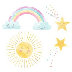 Watercolor rainbow stars sun illustration