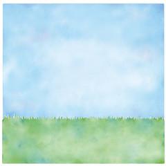 青空と芝生のイラスト