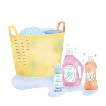 洗濯かごと洗剤のイラスト