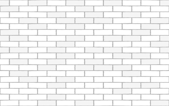 White brick wall seamless texture. Vector background