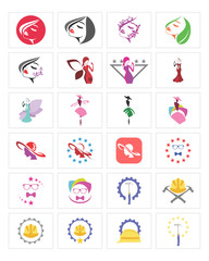 fashion worker icon set image vector symbol logo set