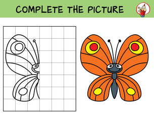 Complete the picture of a funny butterfly. Copy the picture. Coloring book. Educational game for children. Cartoon vector illustration