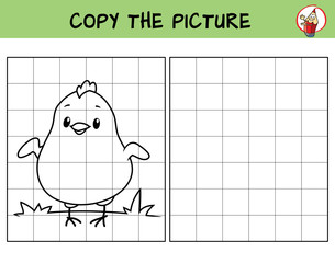 Cute little chicken. Copy the picture. Coloring book. Educational game for children. Cartoon vector illustration