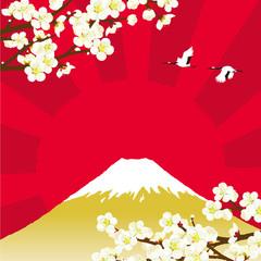 梅と富士山 背景
