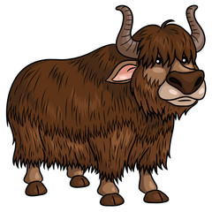Yak Cartoon. Illustration of cute cartoon yak.