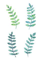 飾り用 緑色の葉っぱ 水彩イラスト