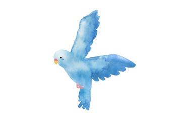 青い鳥 水彩イラスト