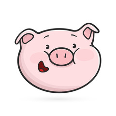 Smiling emoticon icon. Emoji pig. Vector illustration