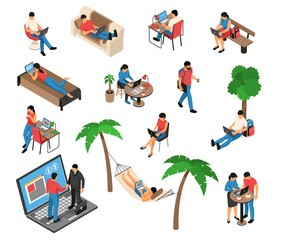 Freelancer Work Isometric Set