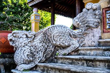 Stone dog statue