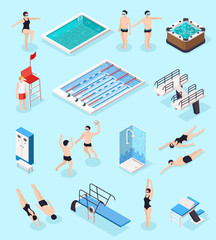 Swimming Pool Isometric Set
