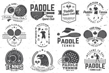 Set of Paddle tennis badge, emblem or sign. Vector illustration. Concept for shirt, print, stamp or tee.
