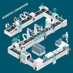 Automated Conveyor Isometric Background