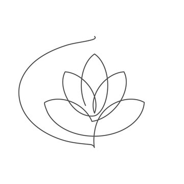 Flower lotus continuous line vector illustration with editable stroke.