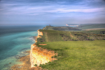 Coast path between Beachy Head and Seven Sisters coastline in hdr
