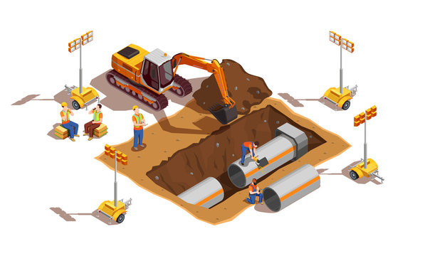 Laying Of Pipes Isometric Composition