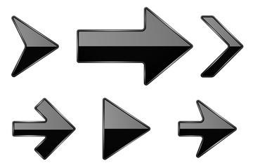 Black arrows. Shiny 3d glass icons