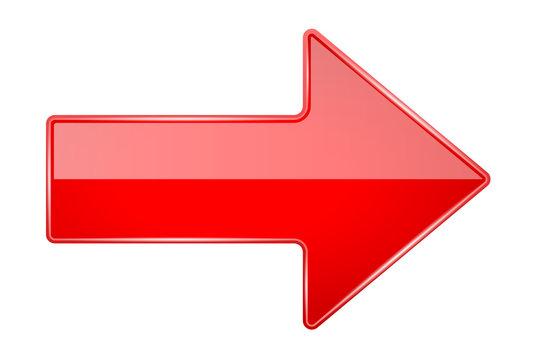 Red shiny 3d arrow